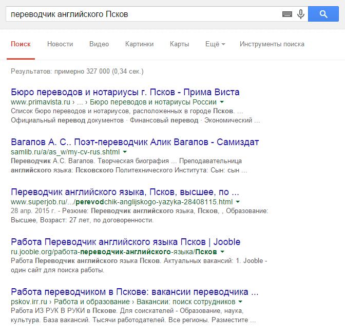 Скриншот выдачи поиска Google